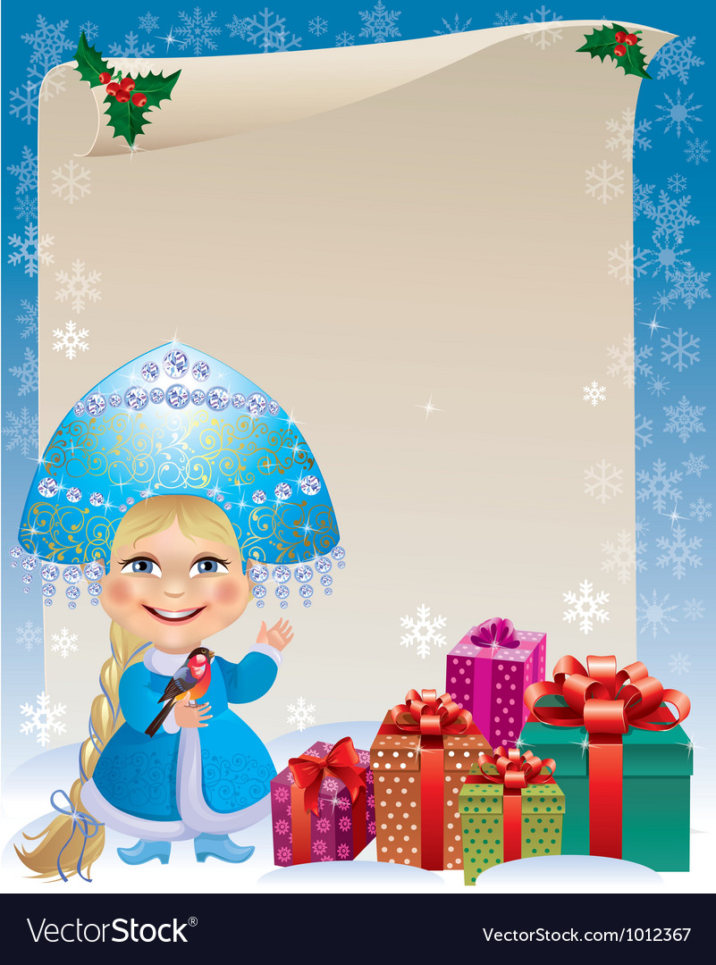 Background with snow maiden vector