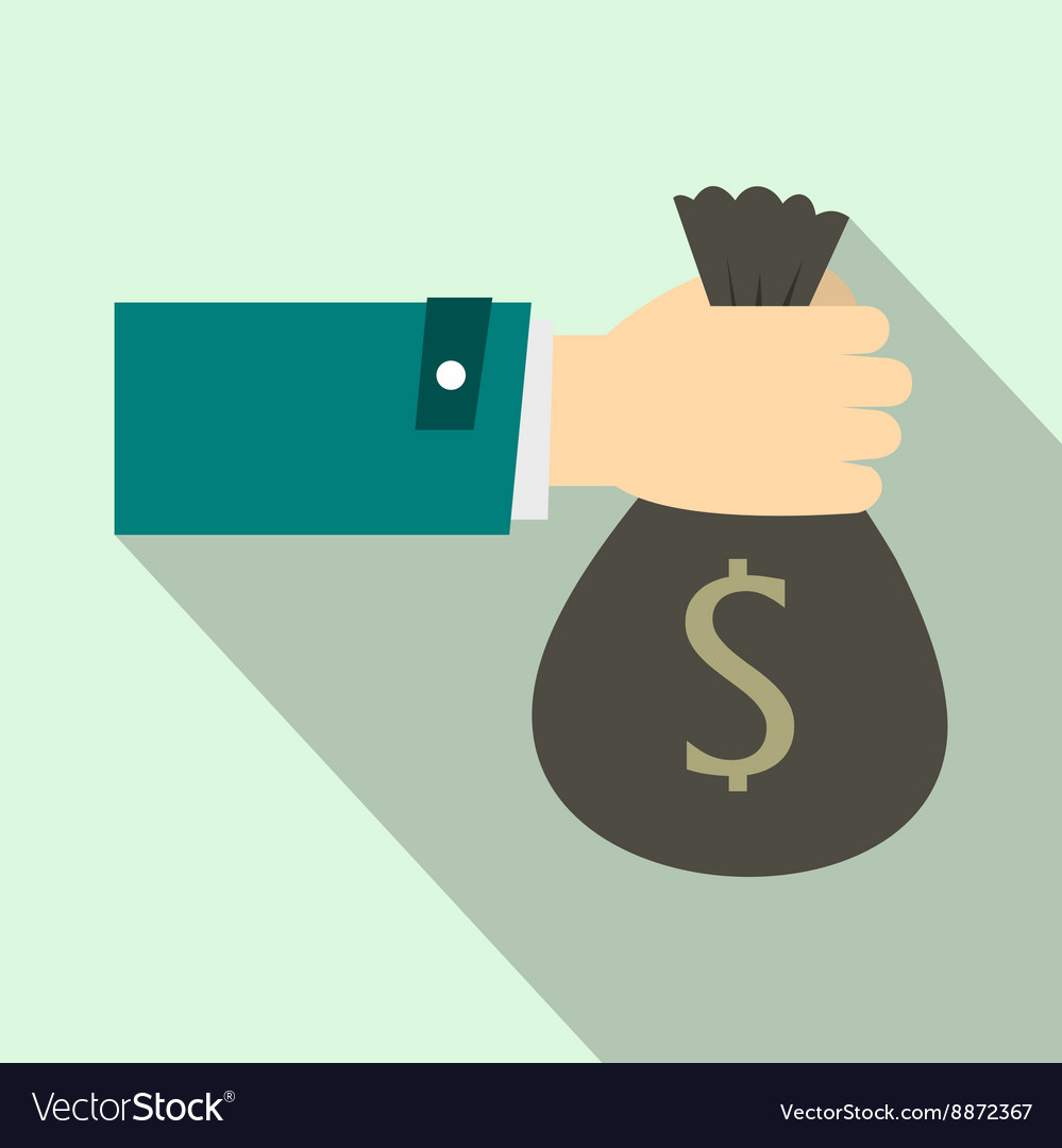 Hand holding money bag icon flat style vector