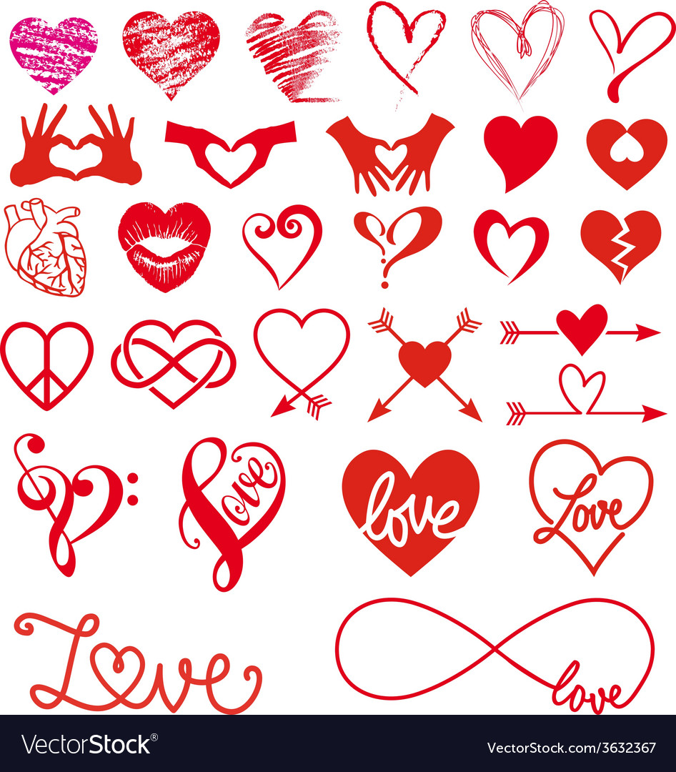 Heart and love big set vector