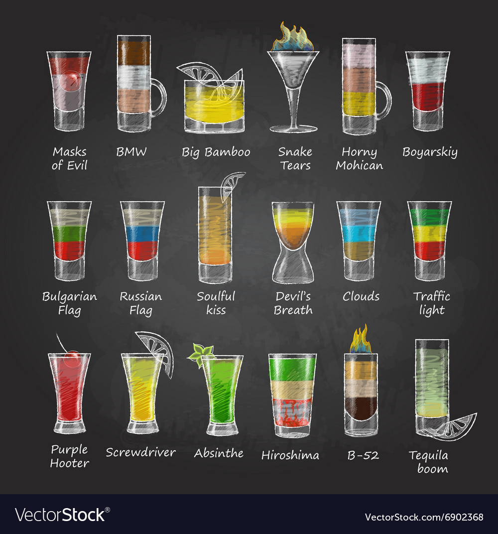 Chalk drawings set of shot cocktails menu design vector