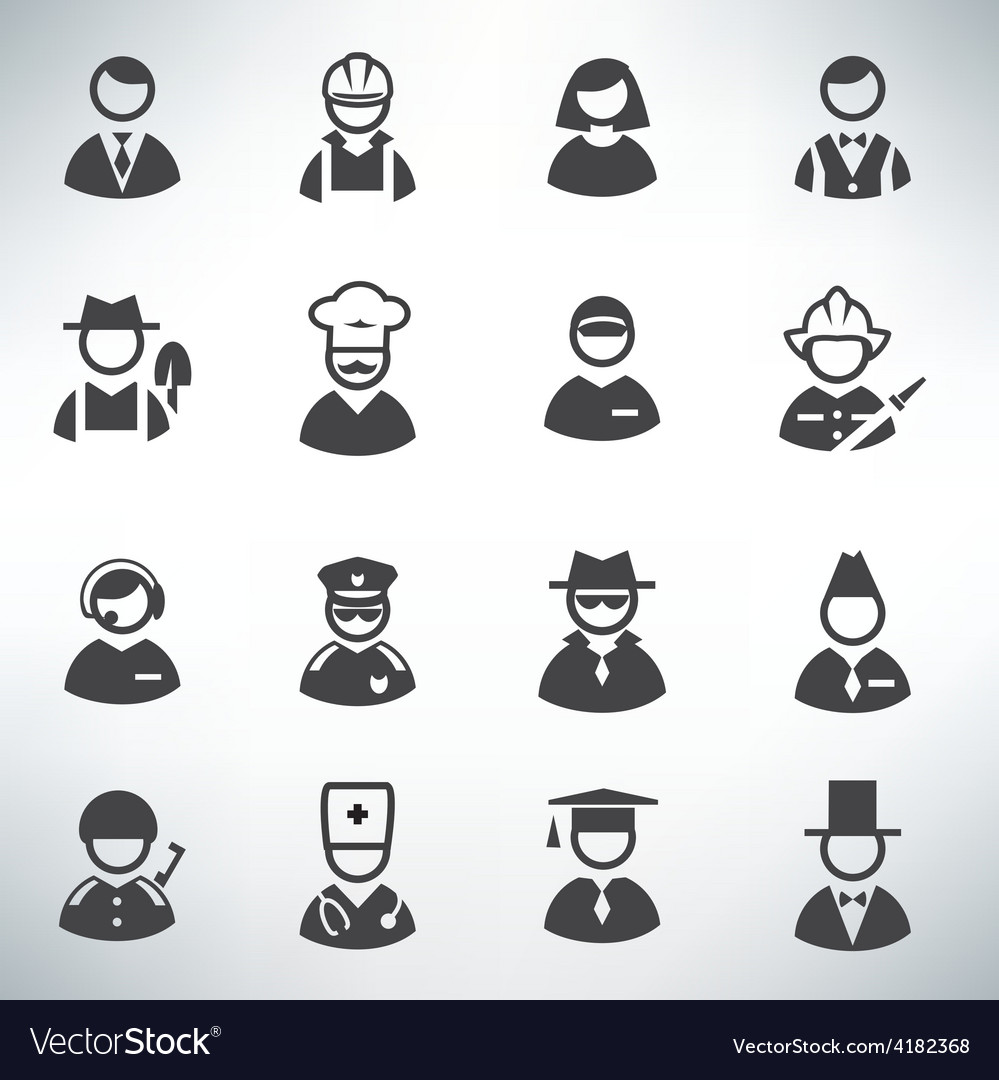 Profession icons set vector