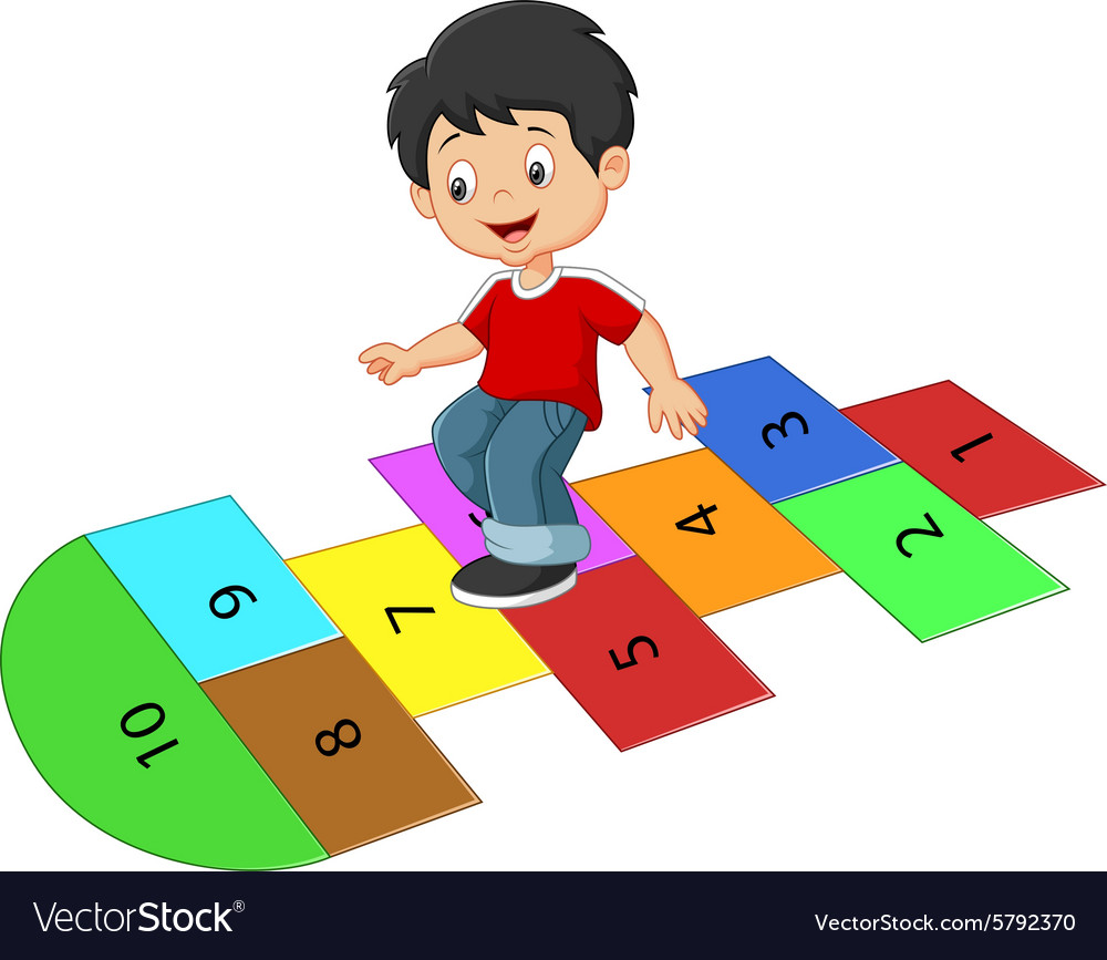 Cartoon boy on the hopscotch vector