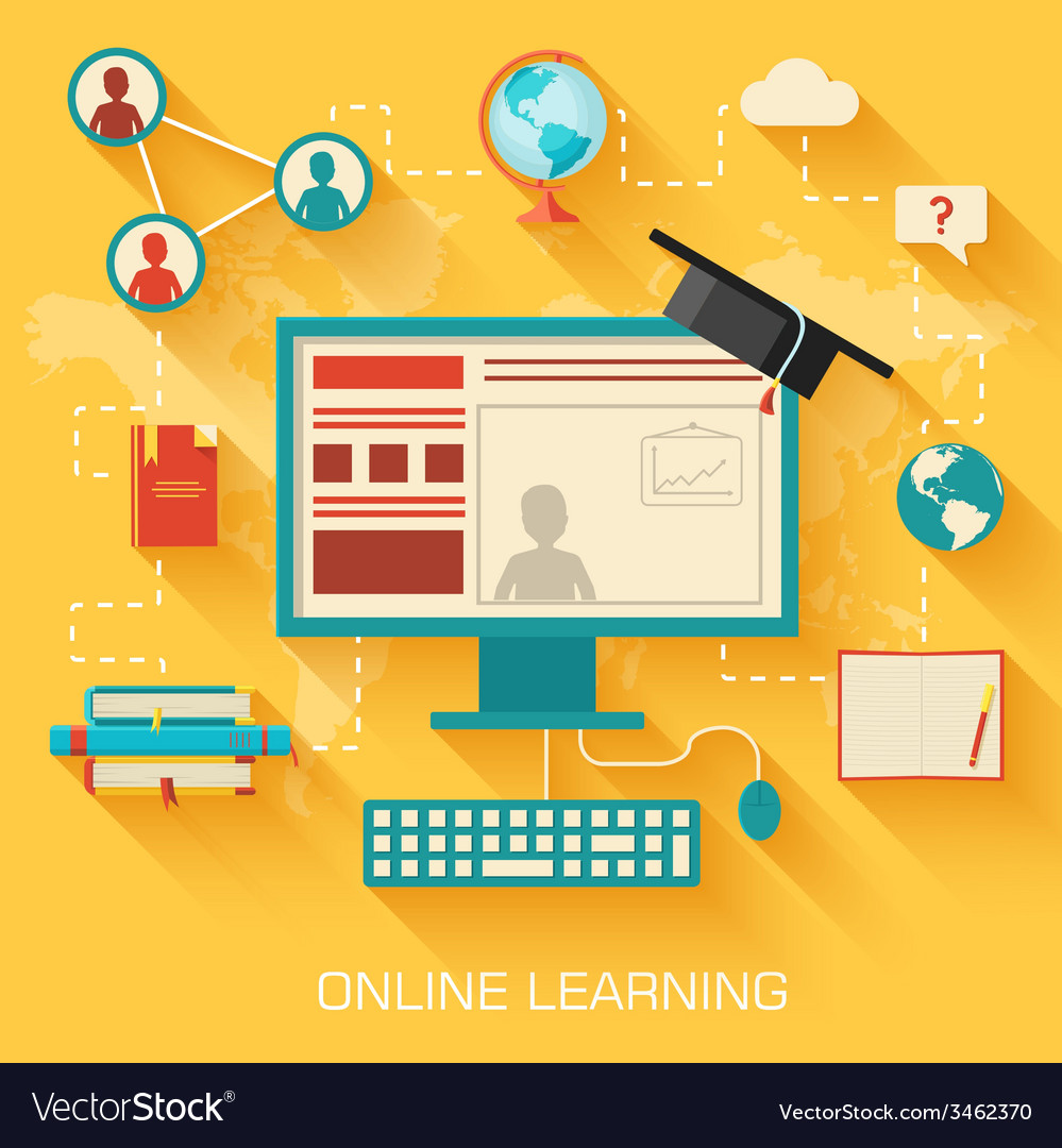 Online learning infographic background concept in vector