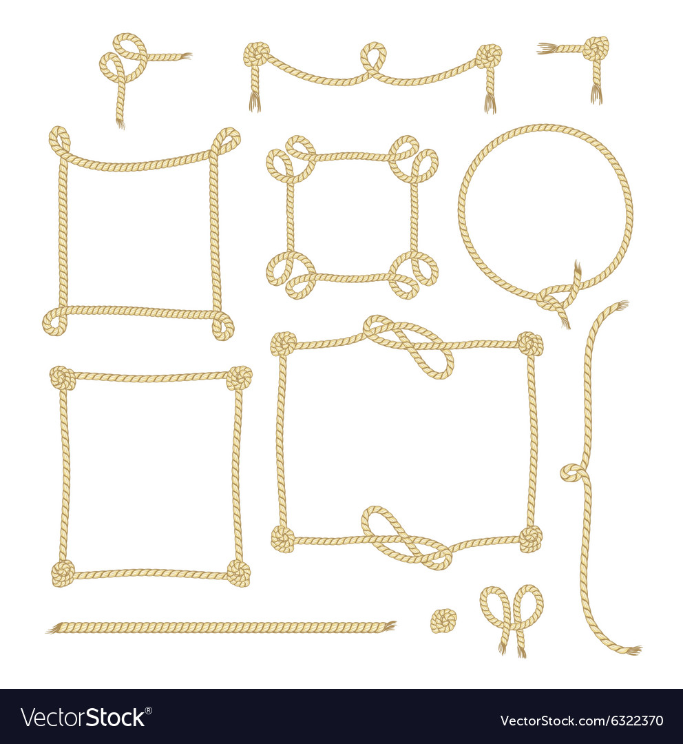 Set of simple rope frames graphic designs on white vector