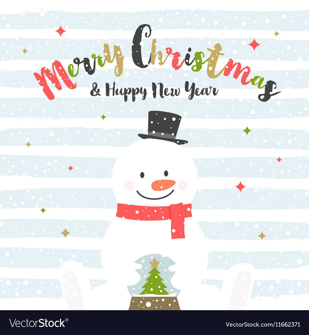Christmas design with snowman vector