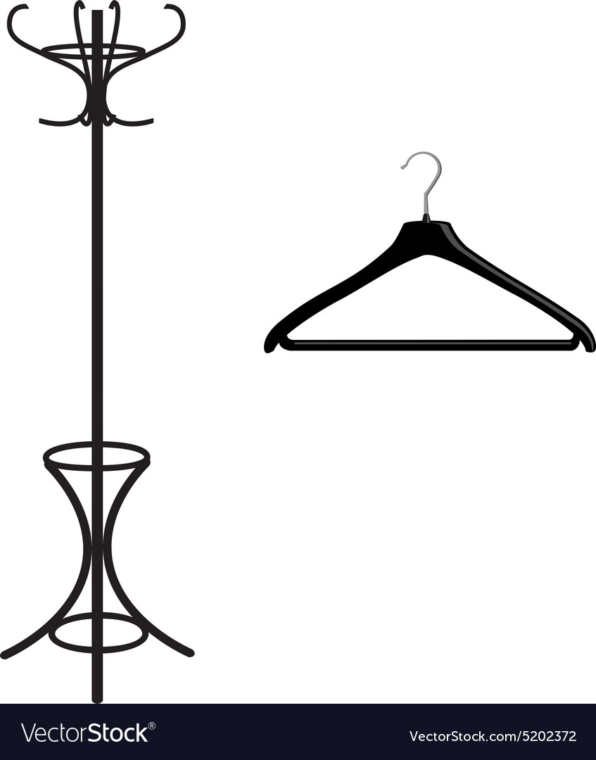 Coat rack and hanger vector