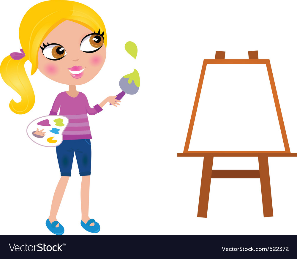 Happy little painter girl vector