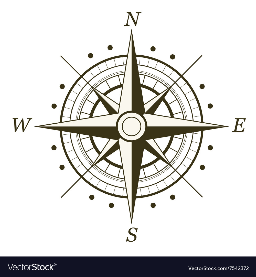 Wind rose isolated vector