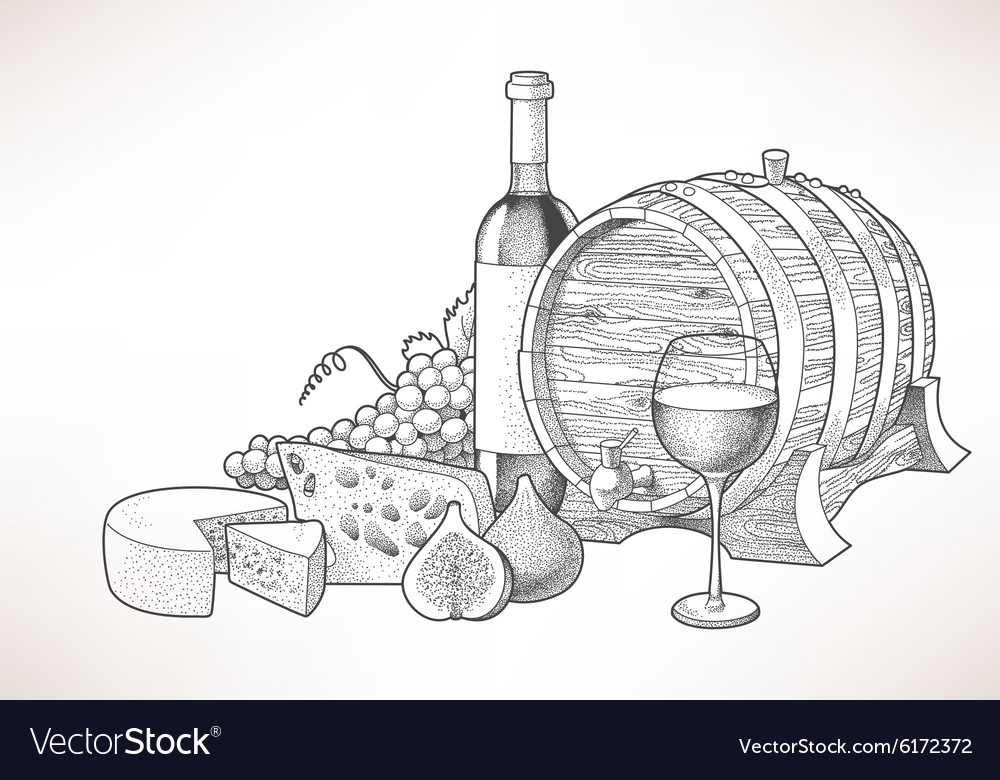 Wine cheese and figs vector