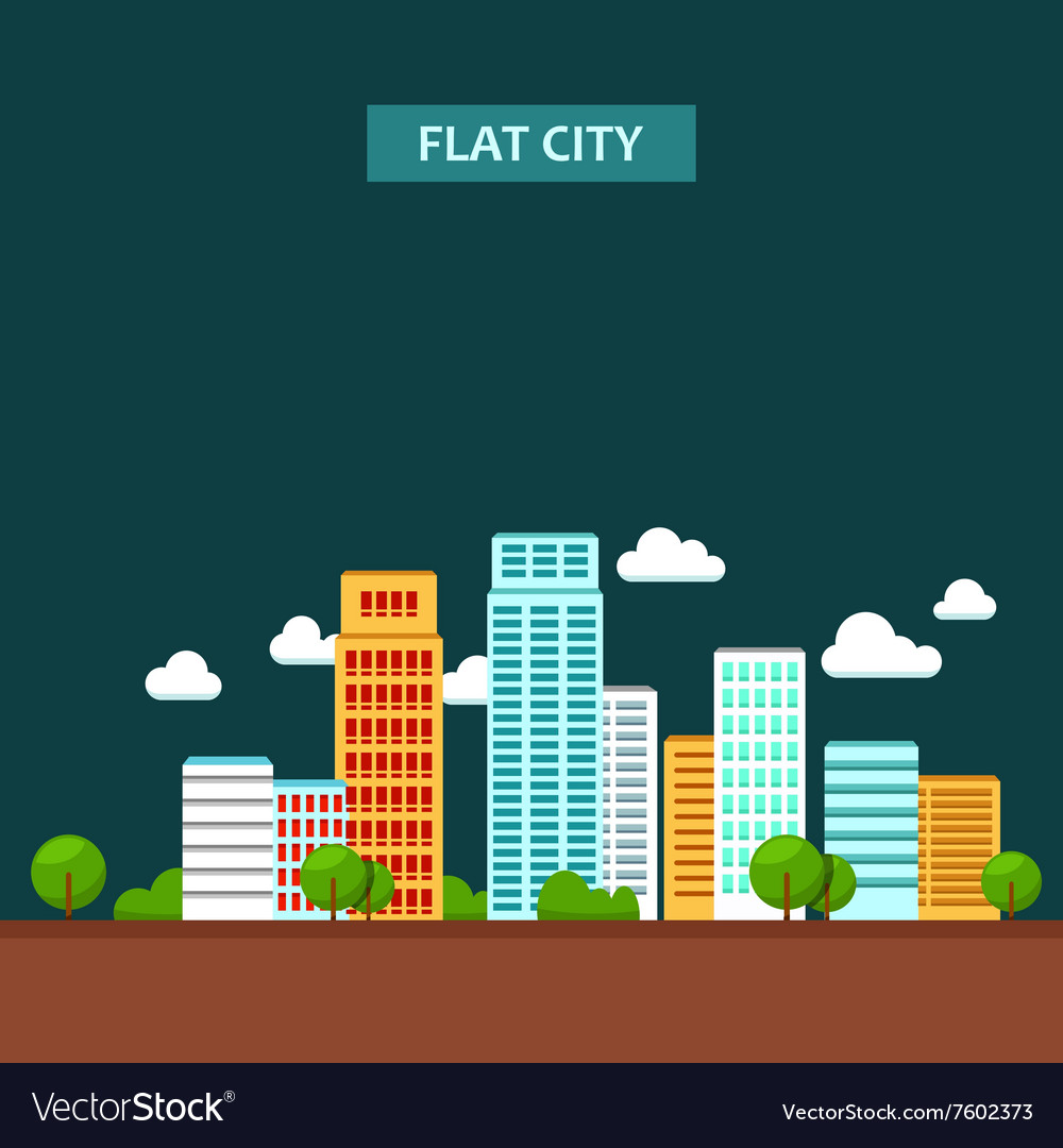 Flat of city urban landscape vector