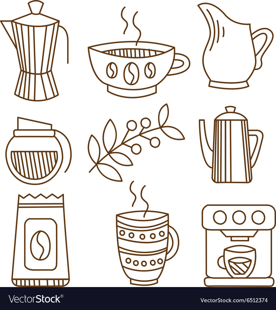 Coffee elements in handdrawn linear style vector