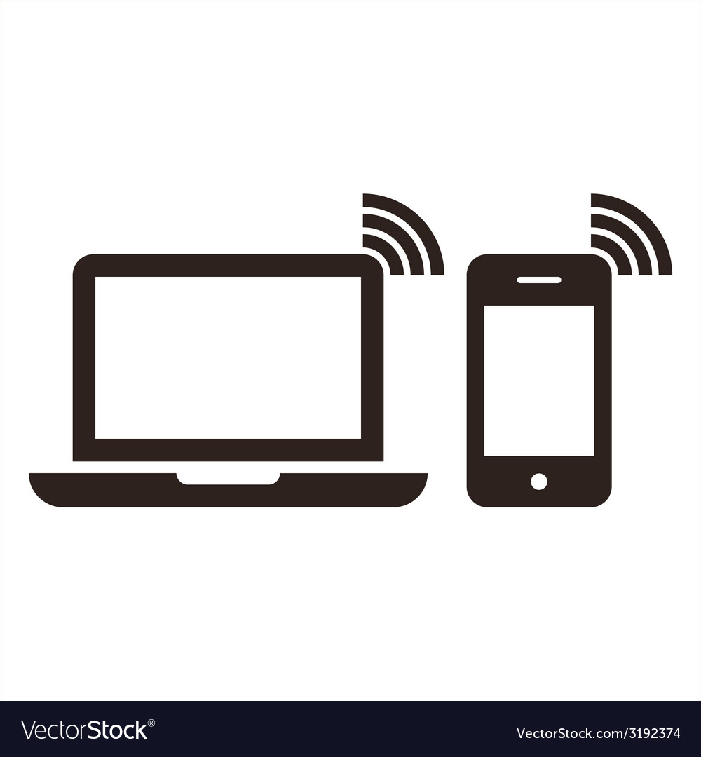 Laptop mobile phone and wireless network icon vector