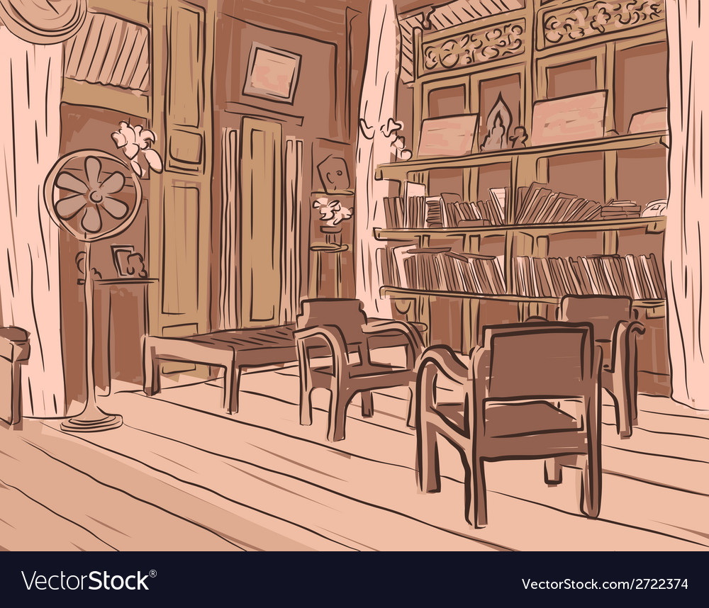 Wooden room vector