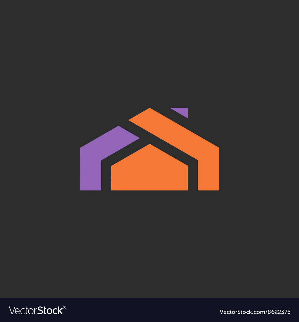 House logo icon abstract sign into flat style of vector