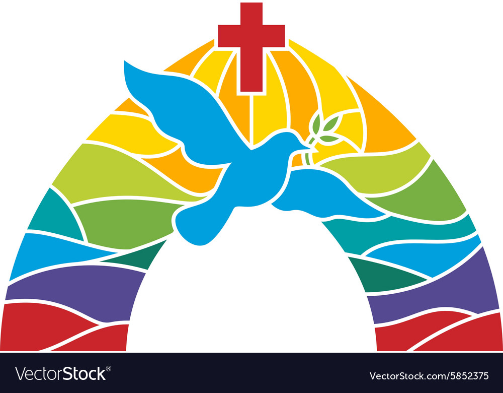 Stained glass dove vector