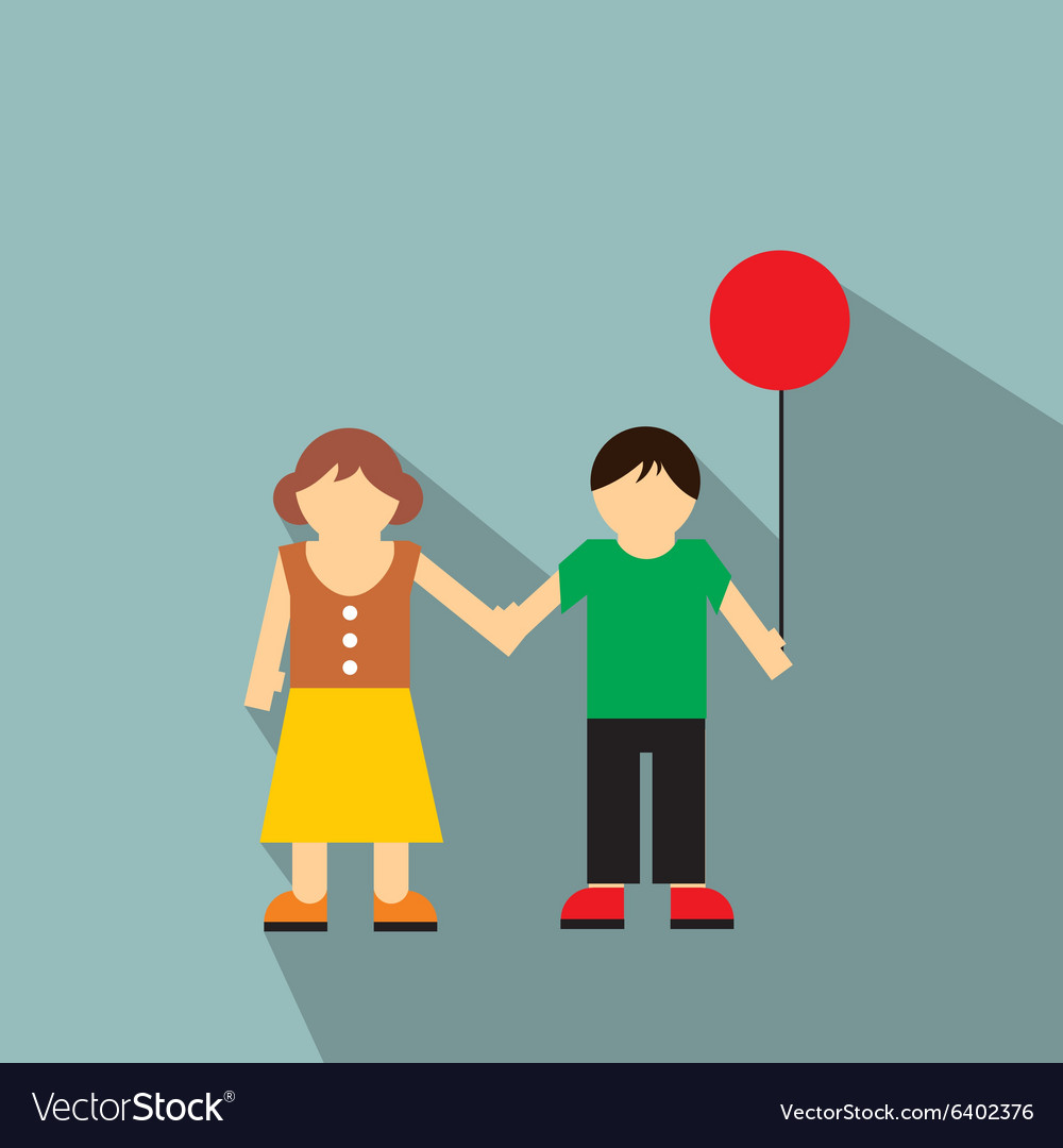 Girl and boy flat icon vector