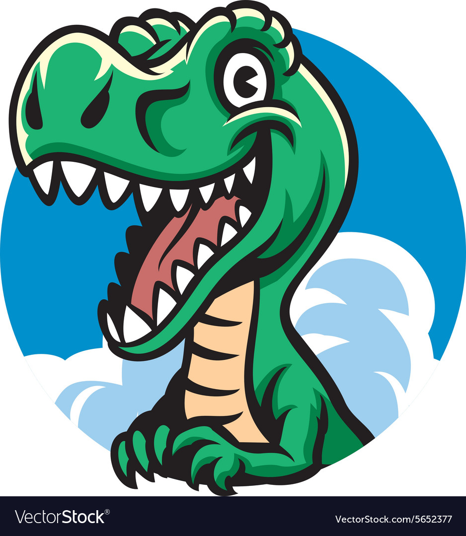 Cheerful cute dino vector