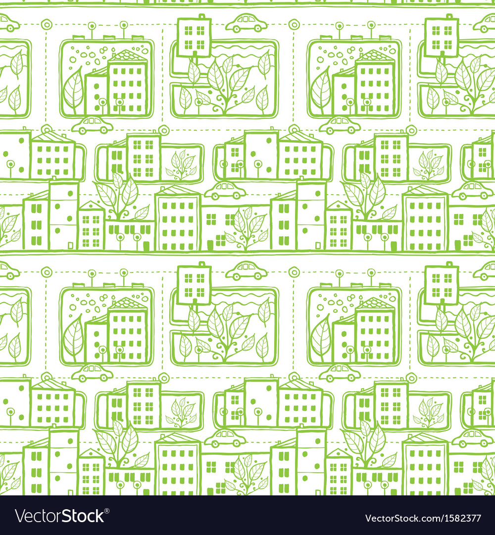 Doodle city streets seamless pattern background vector