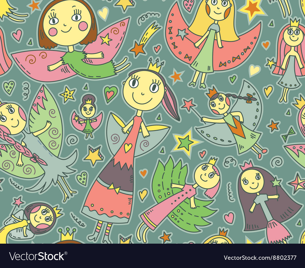 Seamless pattern with cute fairies in vector