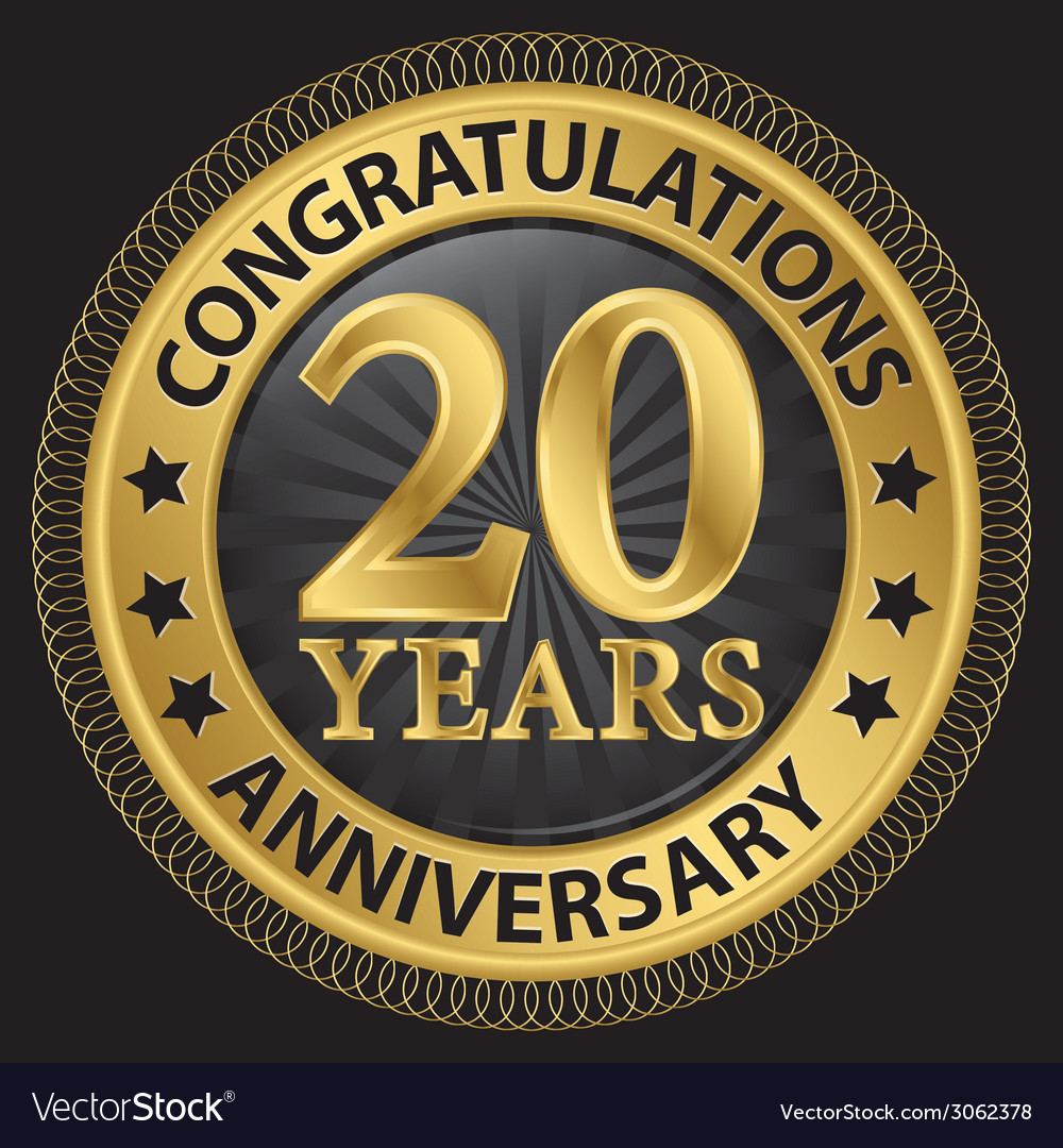 20 years anniversary congratulations gold label vector
