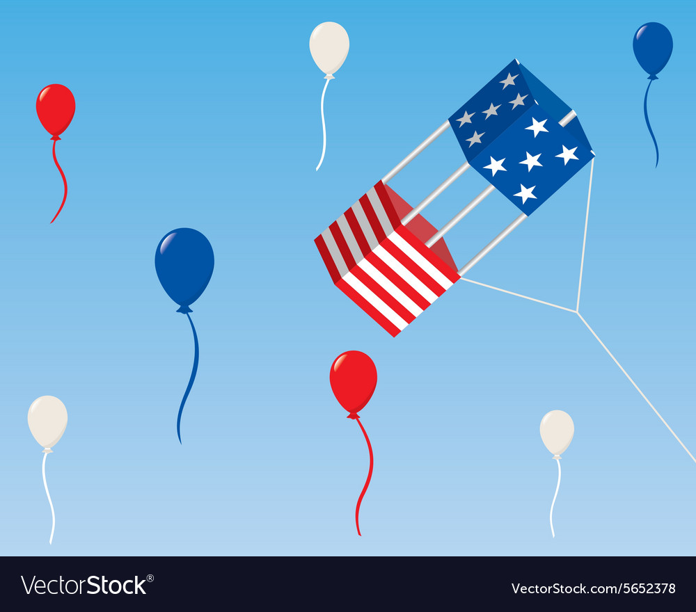 American patriotic box kite with balloons vector