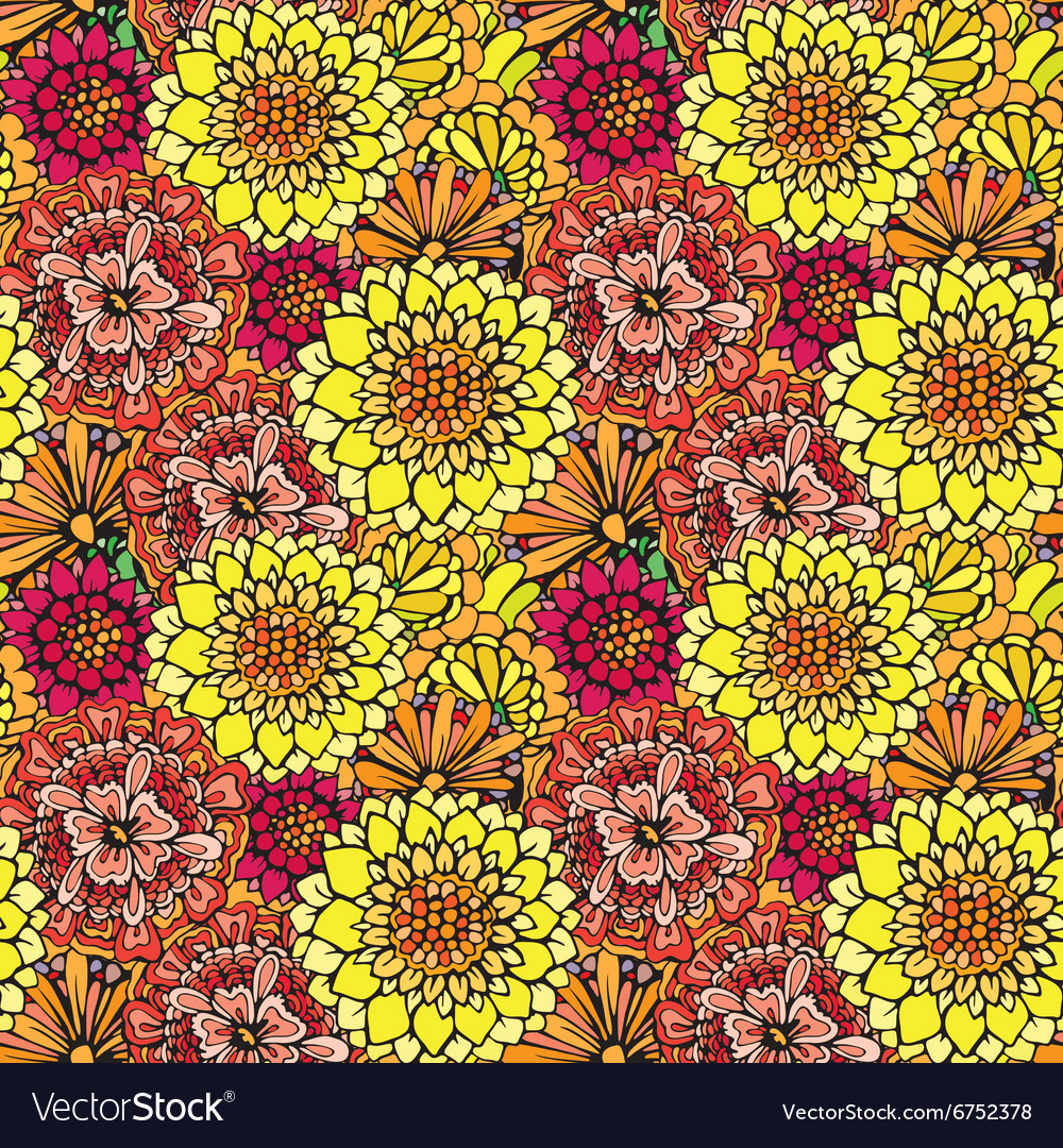 Flowers abstract seamless 7 380 vector