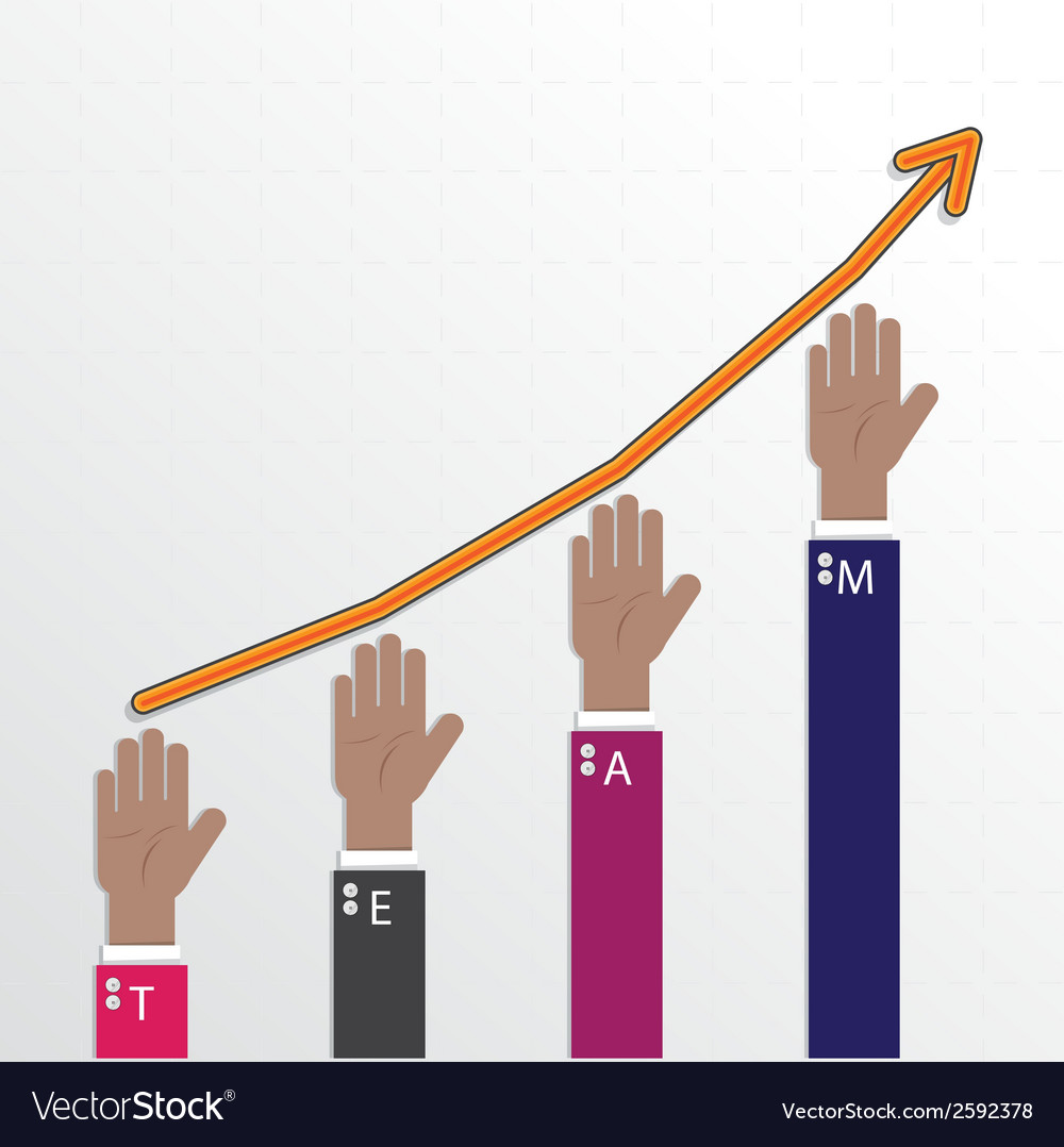 Hands of businessman with graph increase vector
