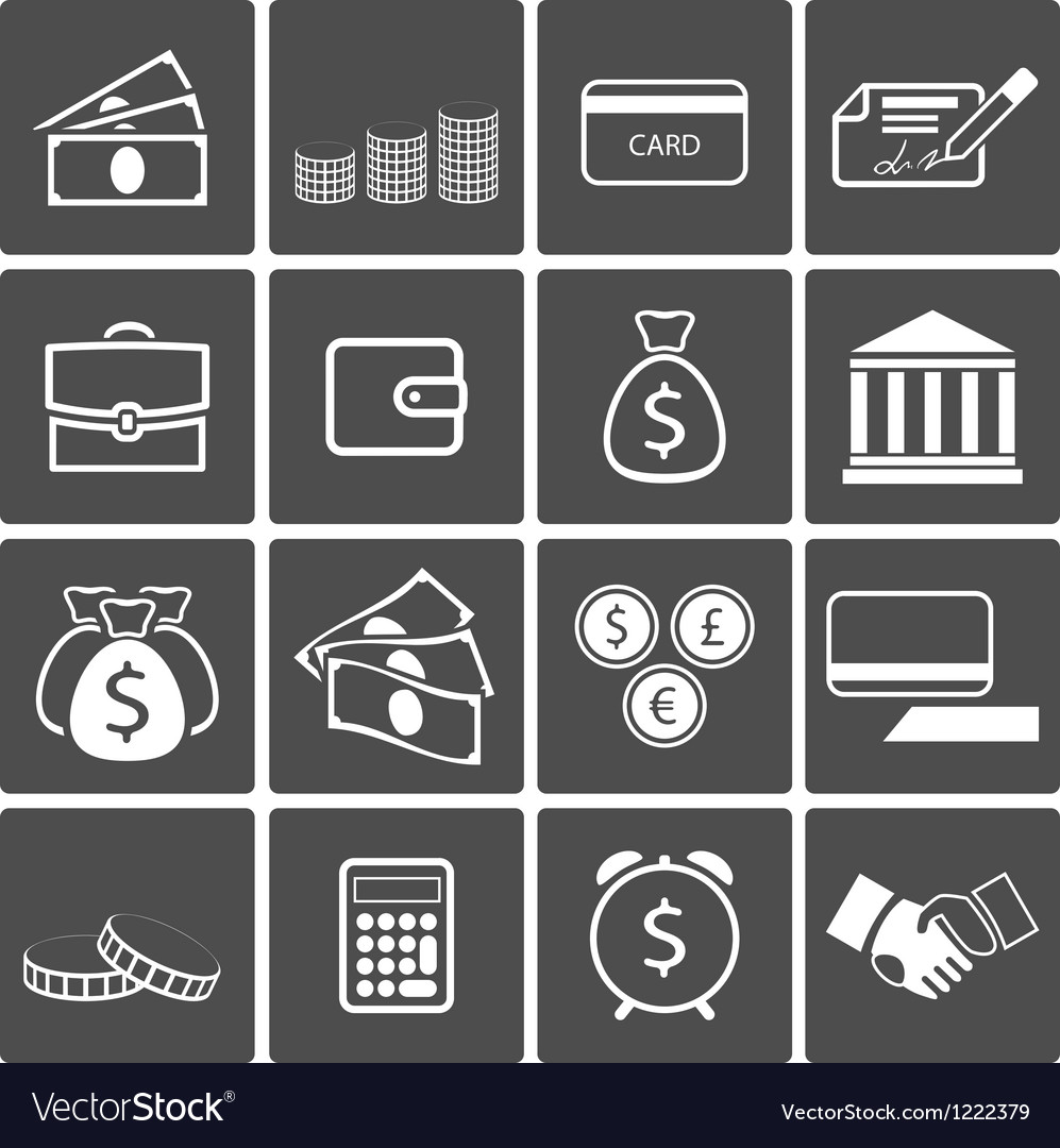 Money icons set vector