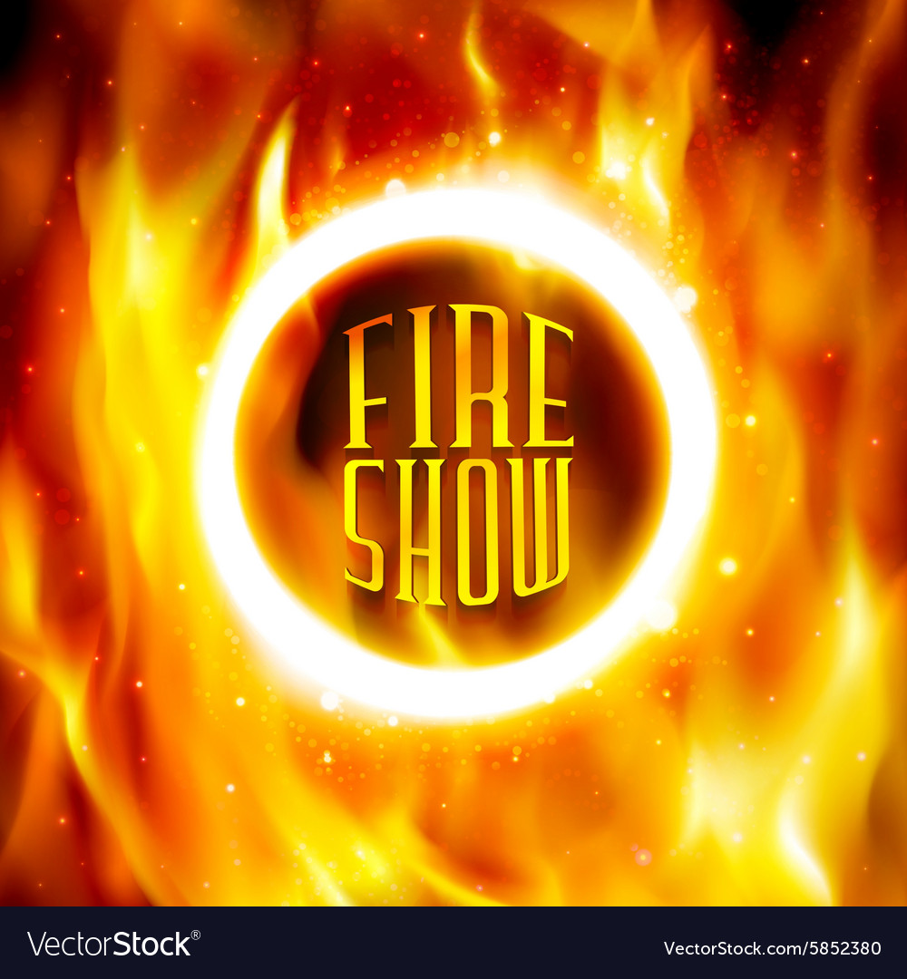 Ring of fire fiery circle on poster for vector