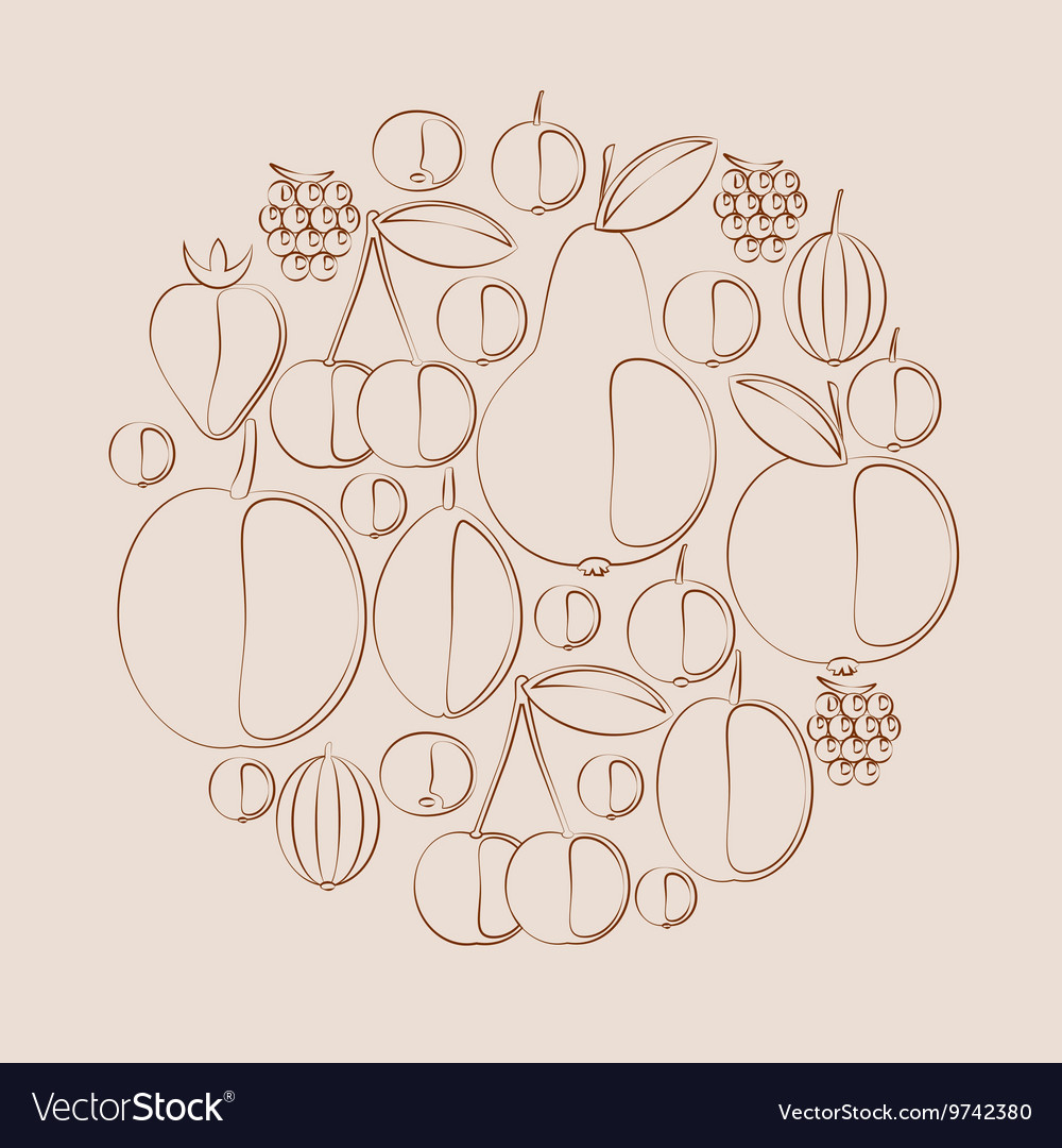 Silhouettes of berries and fruits in natural vector