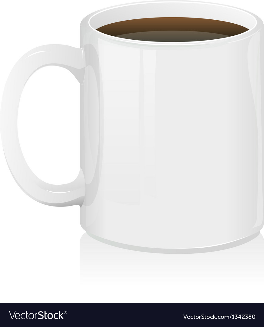White coffee cup isolated vector
