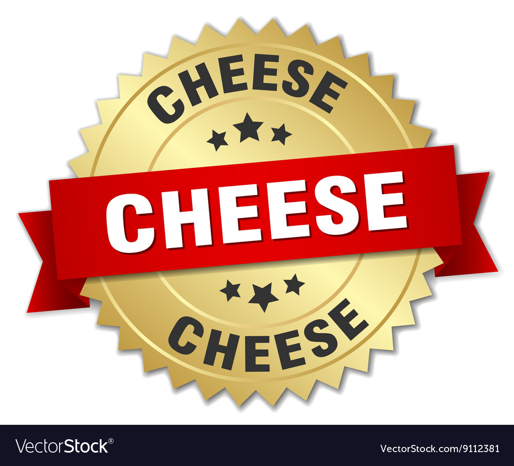 Cheese 3d gold badge with red ribbon vector