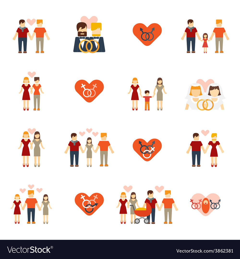 Nontraditional family icons set flat vector