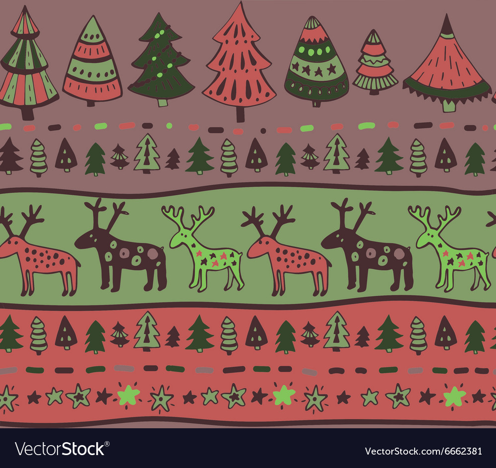 Seamless pattern with hand drawn christmas vector