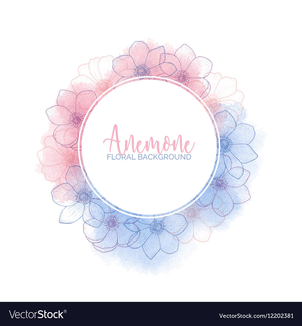 Watercolor wreath with flower anemones rose quartz vector