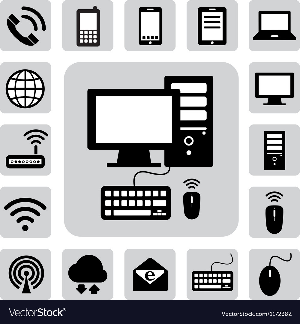 Computer and storage icons set vector