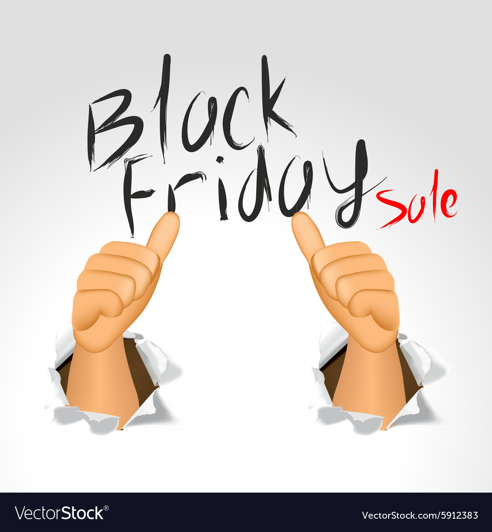 Black friday sale and thumbs up vector