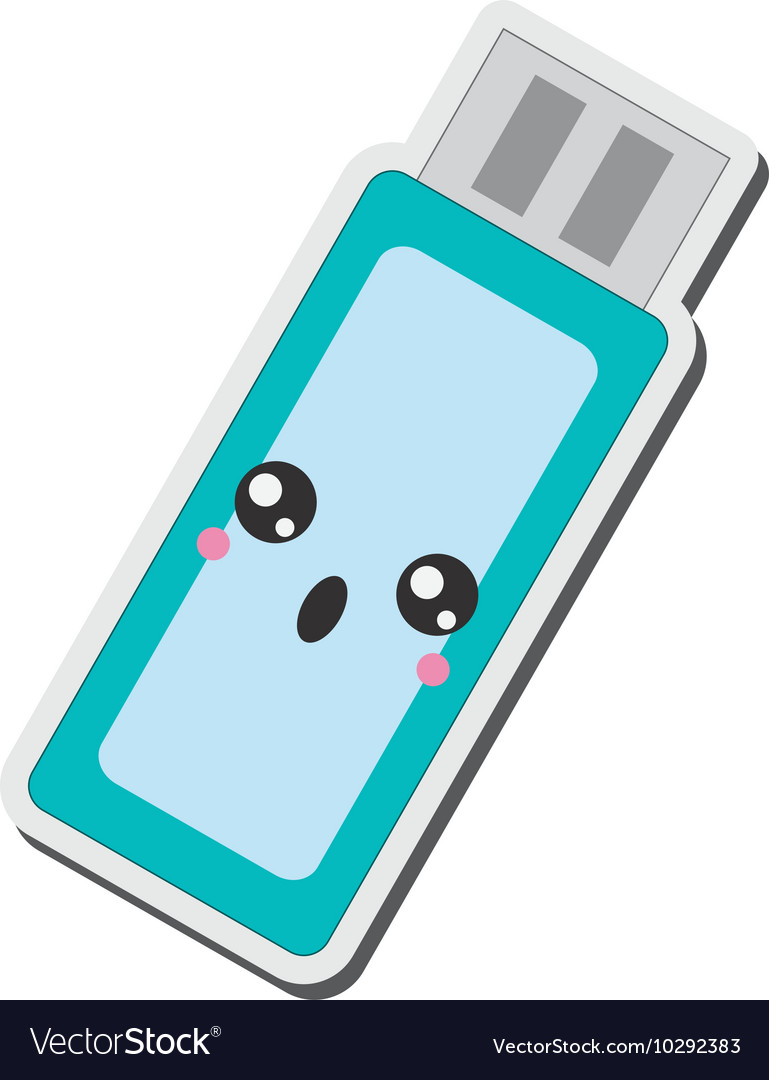 Kawaii usb flash drive icon vector