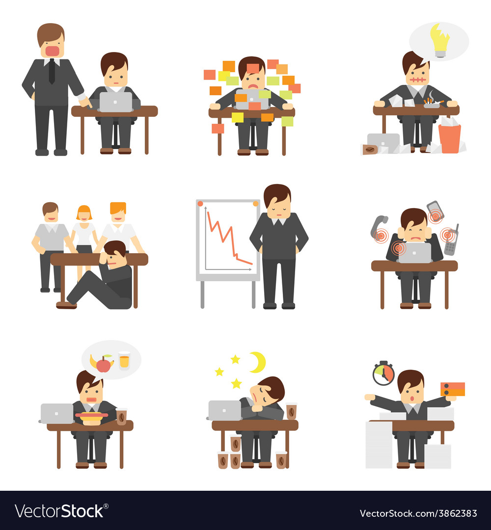 Stress at work icons set vector