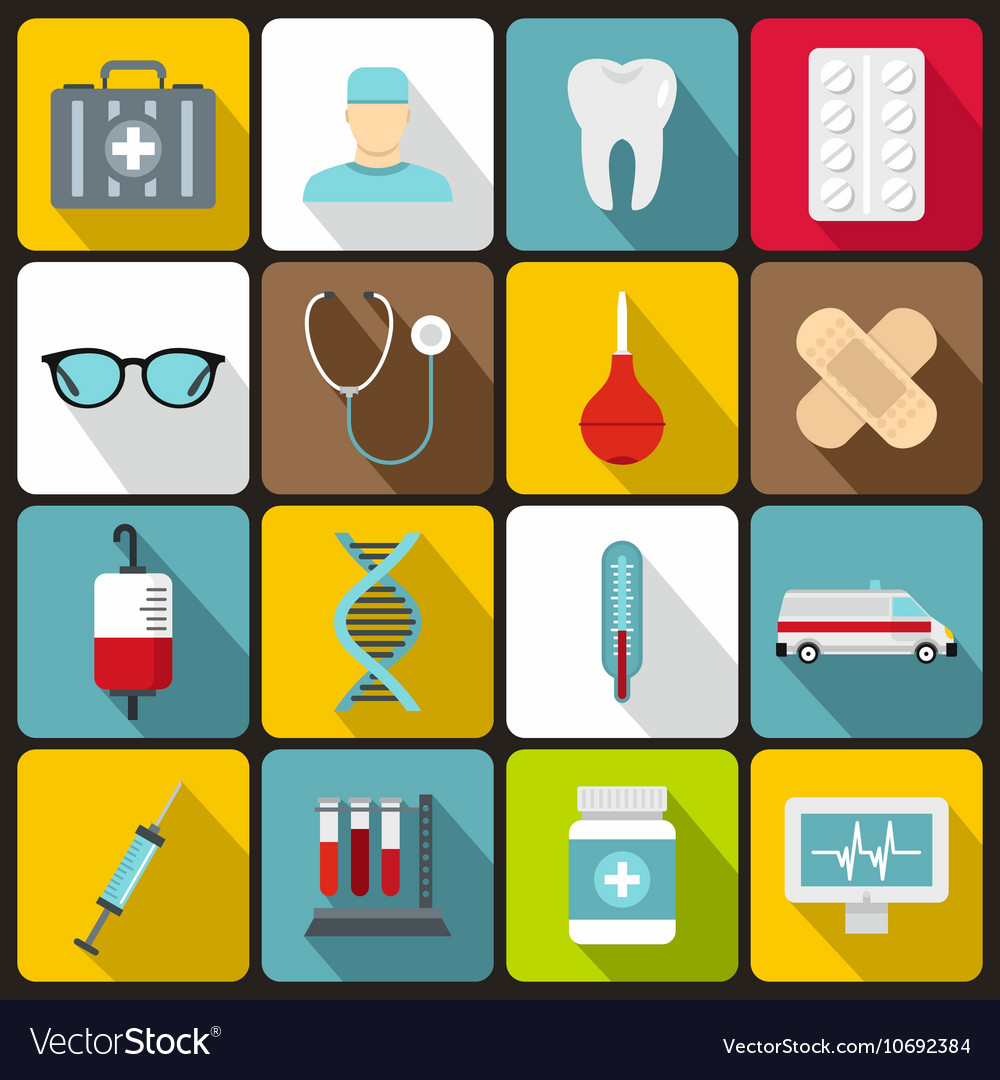Medicine icons set flat style vector