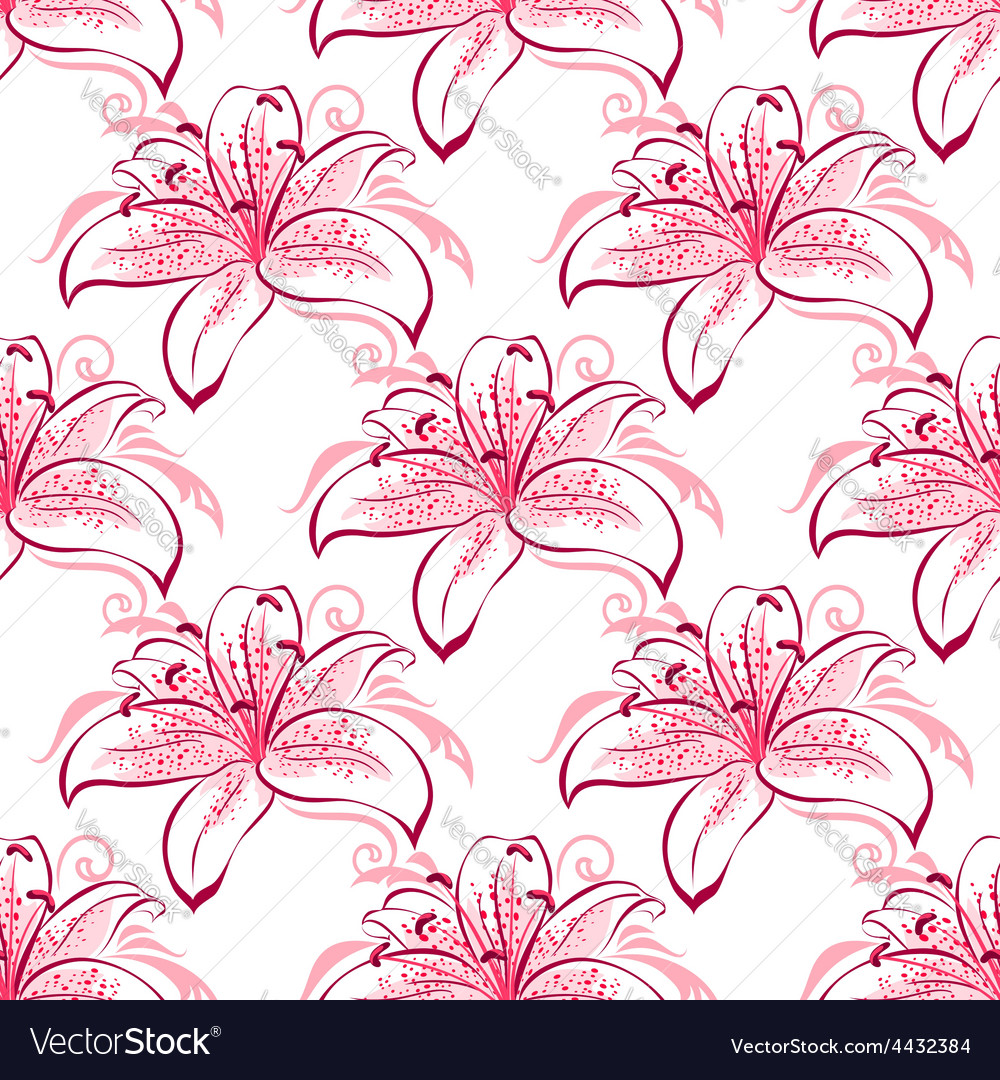 Pink and purple lilies seamless pattern vector