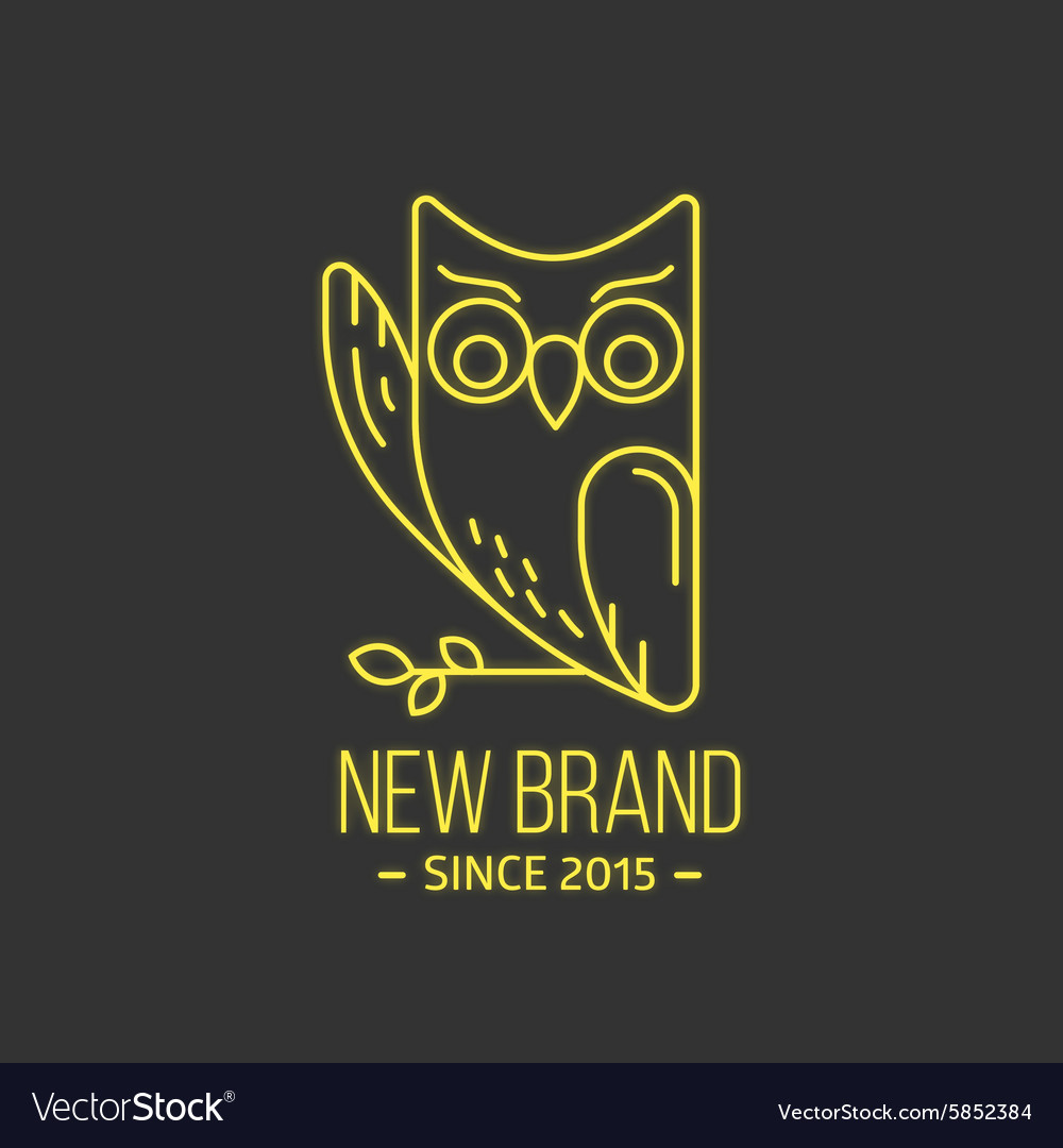 Vintage owl logo in thin line style vector
