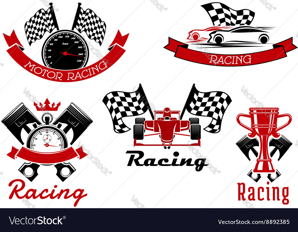 Auto racing sporting symbols with race cars vector