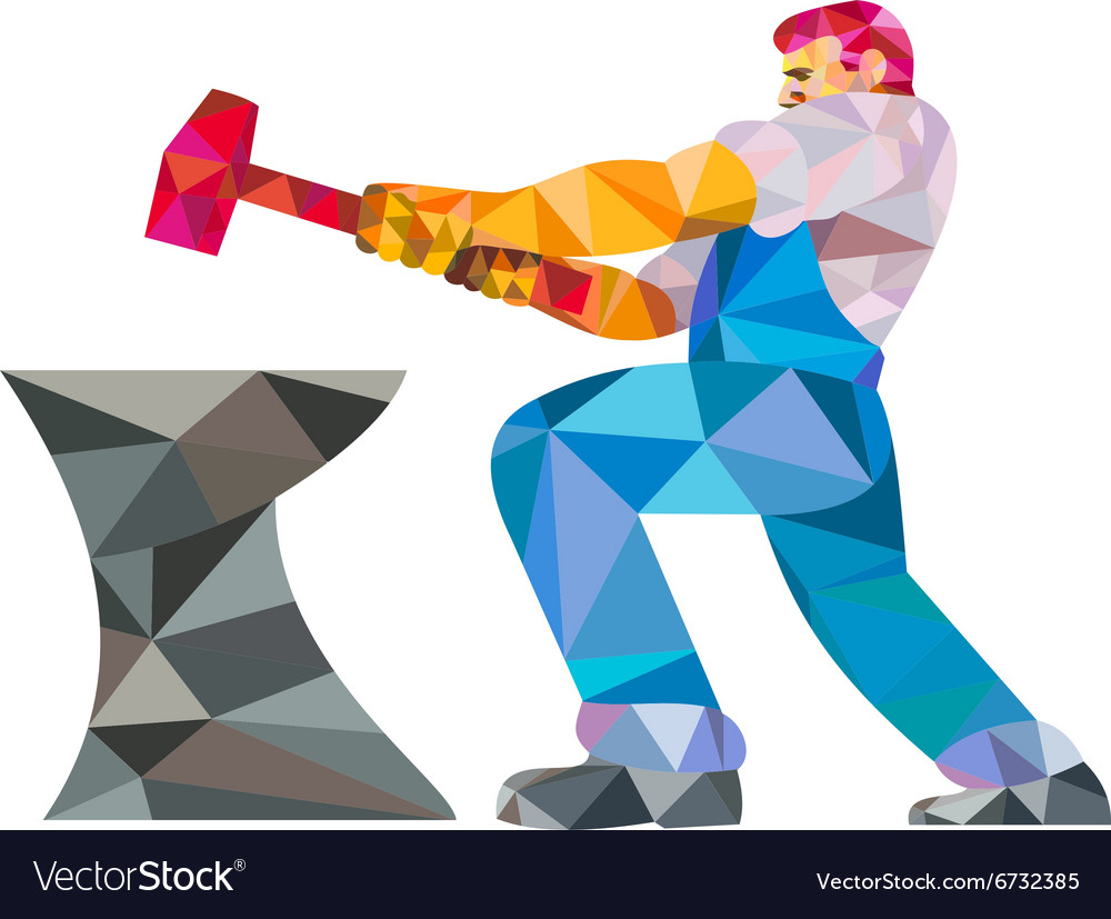 Blacksmith worker striking hammer anvil low vector