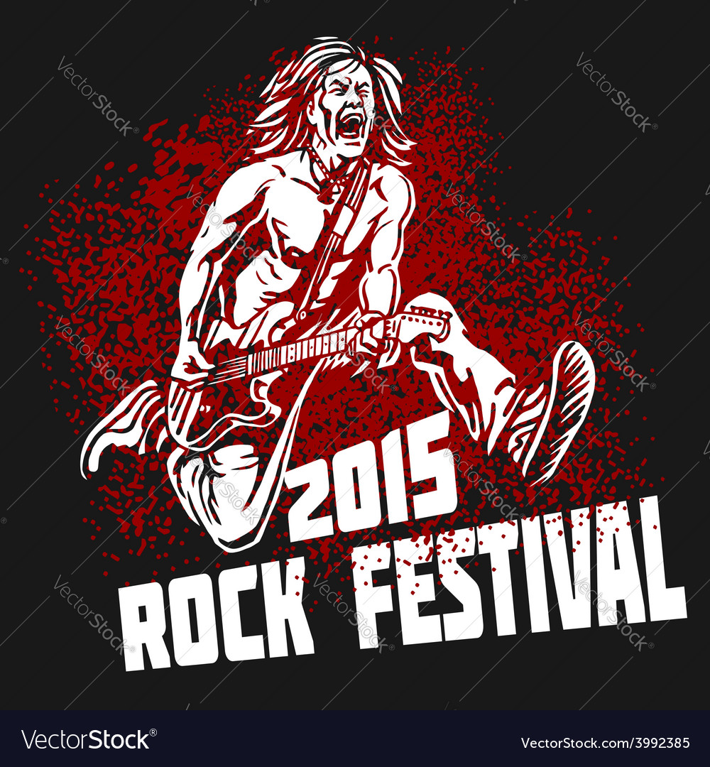 Rock star with guitar on grunge background  rock vector