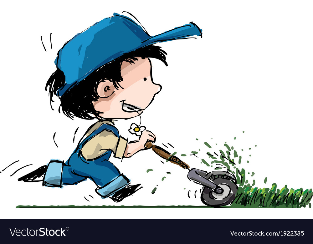 Smiling boy lawn cutter vector