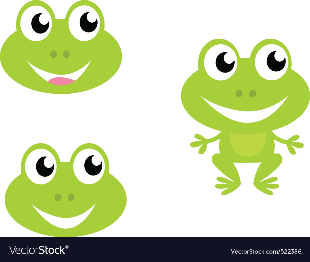 Cute green cartoon frog icons vector