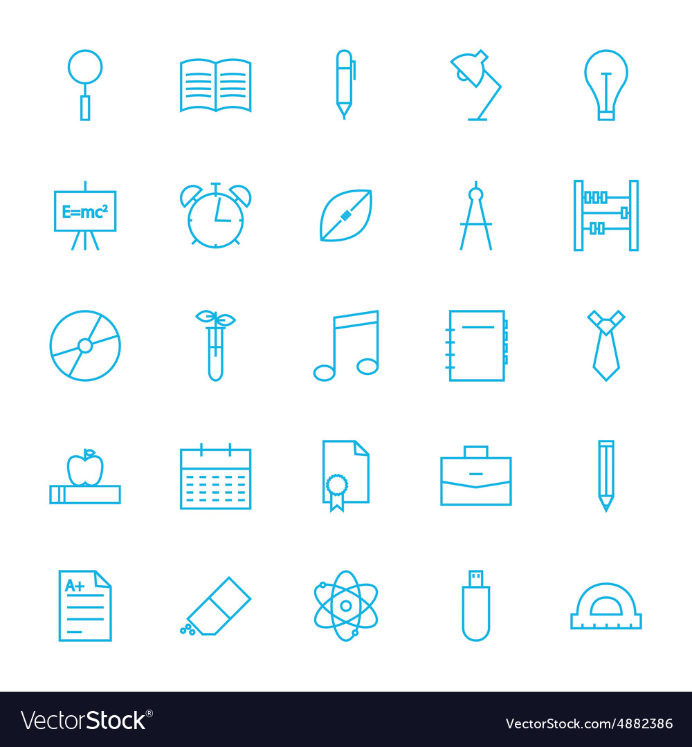 Line school and science icons set vector
