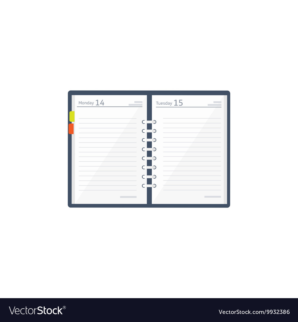Notebook in a flat style reminder diary vector