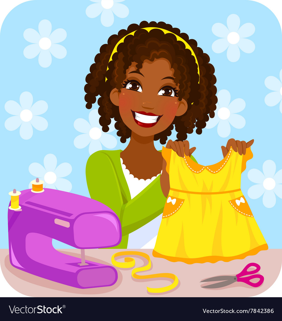 Woman sewing a dress vector